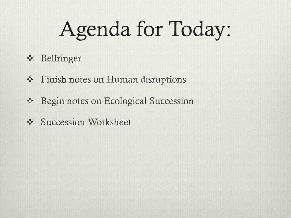 94 Agenda for Today  Bellringer  Finish notes on Human disruptions  Begin notes