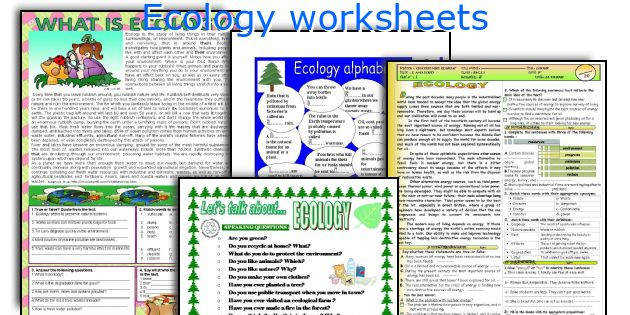 Ecology worksheets