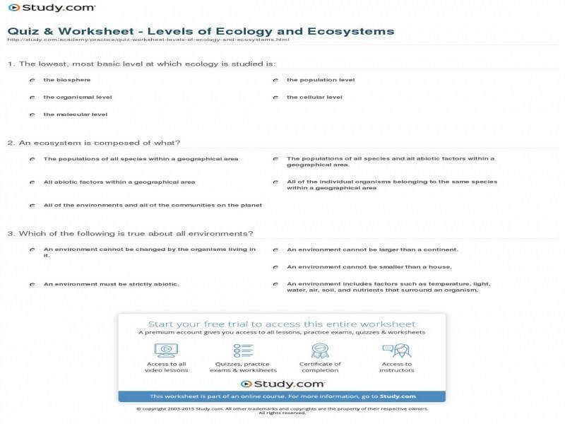 Quiz & Worksheet – Levels Ecology And Ecosystems