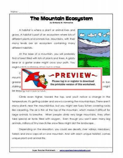 The Mountain Ecosystem Super Teacher Worksheets