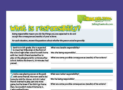 What is responsibility character education worksheet