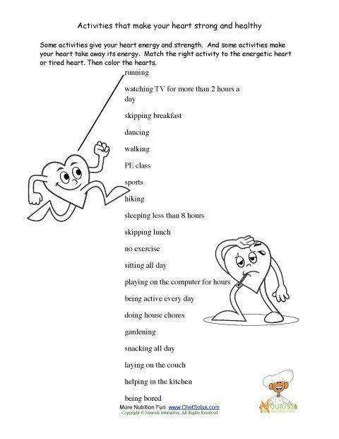 Our health worksheets promote the foods and exercise that keep a child s heart healthy along with some fun