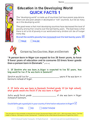 Education in the Developing World Worksheet
