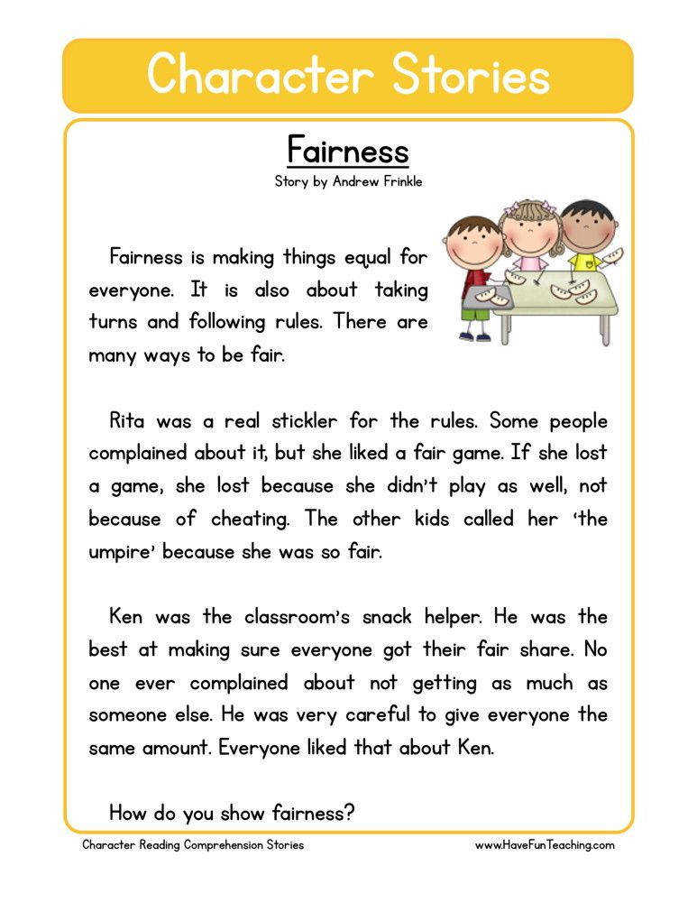 Second Grade Reading prehension Worksheet Character Stories Fairness