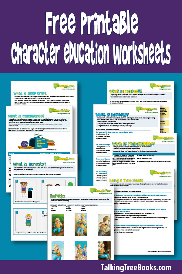 Free printable character education worksheets