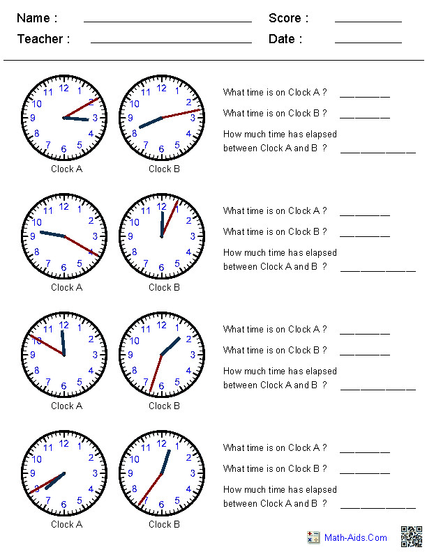 Elapsed Time Worksheets This site generates clock times in increments of your choice Great