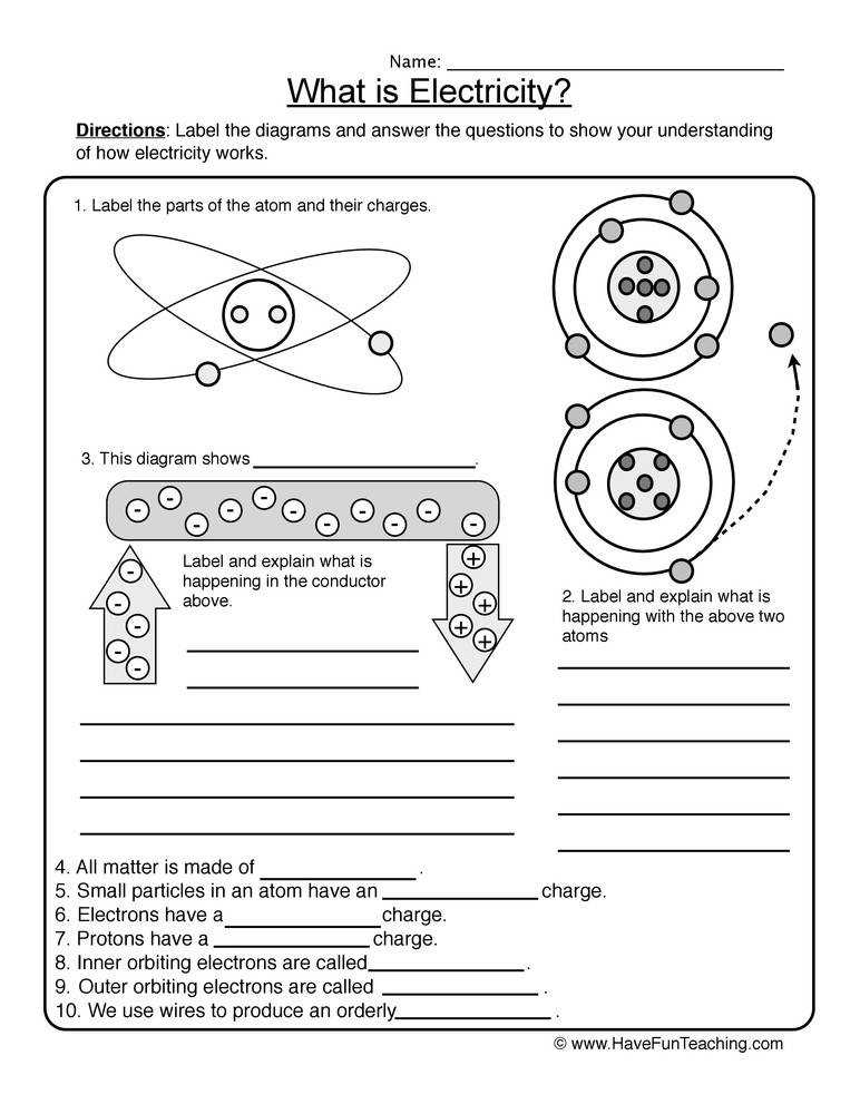 Quiz Worksheet Characteristics of Static Electricity