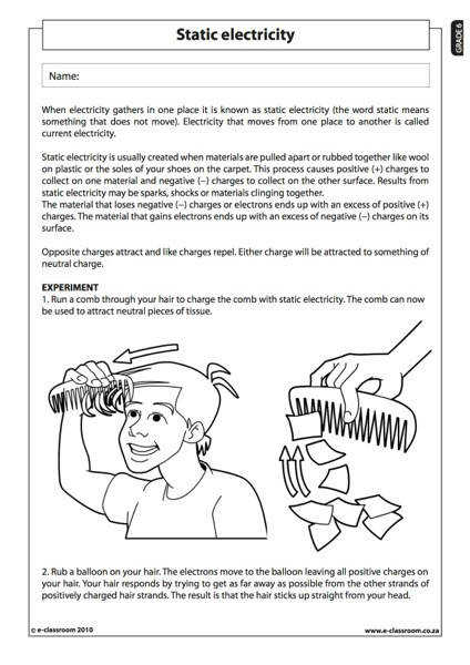 Static Electricity Natural Science Worksheet Grade 6