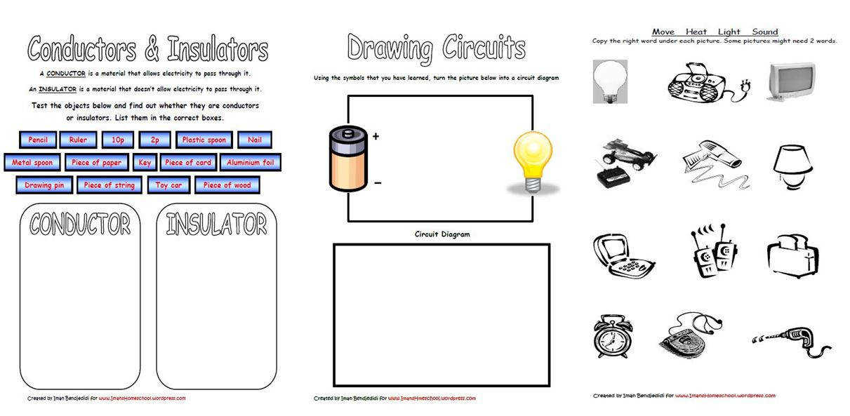 We are also using Electricity Worksheets from Super Teacher Worksheets