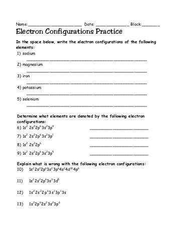 Electron Configuration Practice Worksheet Free Download