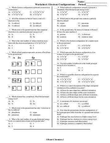 Electron Configuration Worksheet Everett munity College Explain your answer in terms of trends in the periodic table