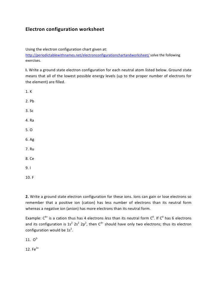 Electron Configuration Worksheet
