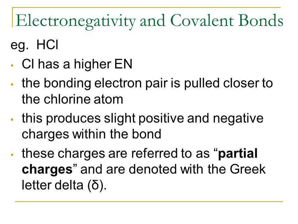 Electronegativity and Covalent Bonds