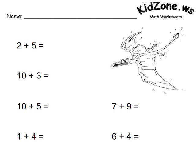 KidZone Math Worksheet Example Screenshot