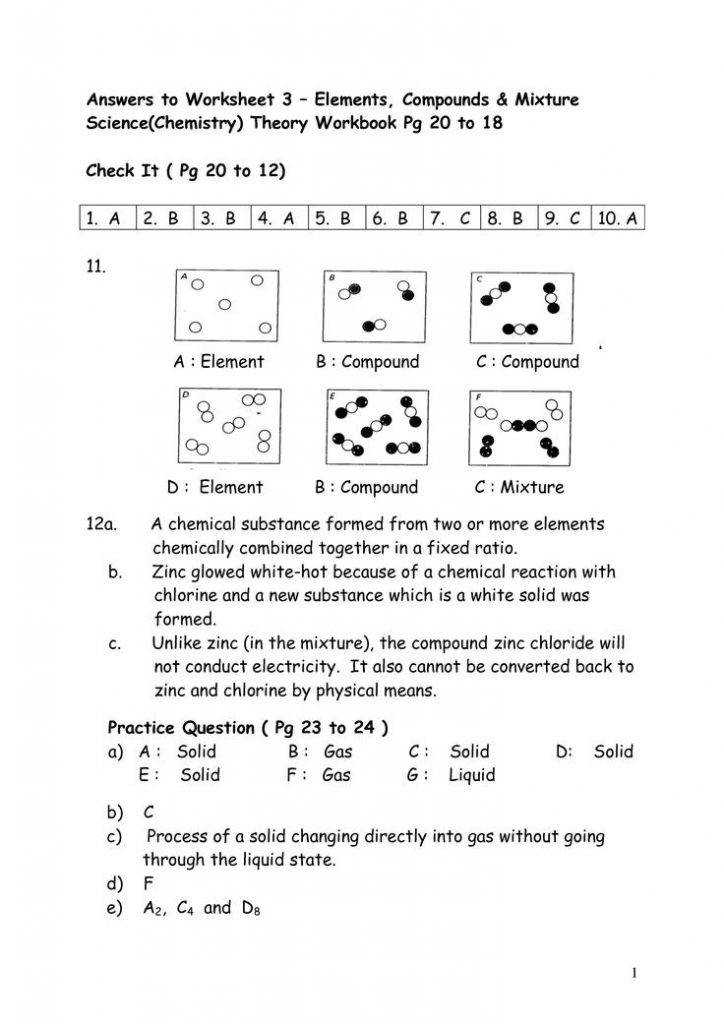 Section 2 3 elements and compounds worksheet answers
