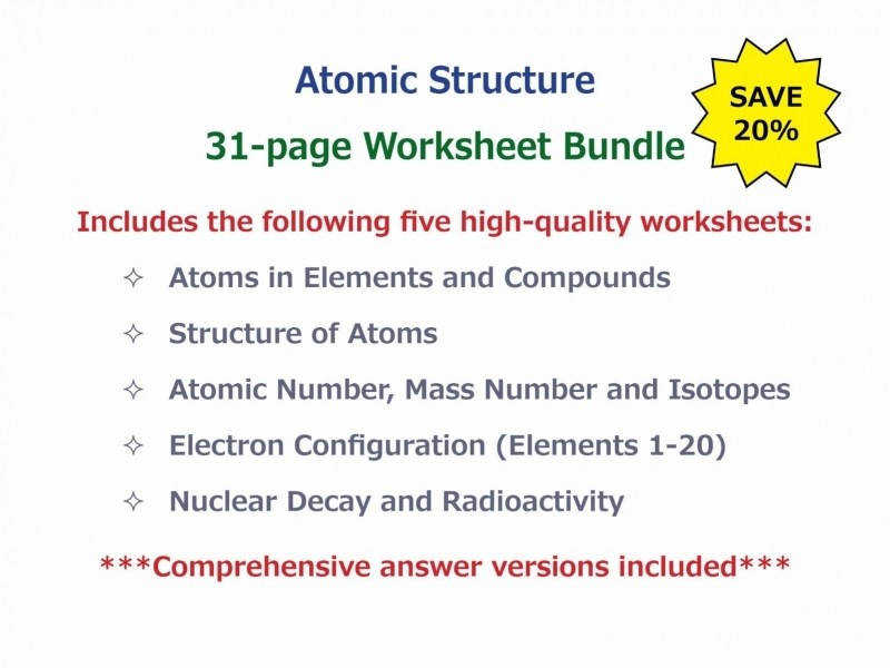 Atoms In Elements And pounds Worksheet