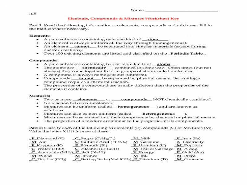 Everyday Physical Science Elements Compounds And Mixtures Worksheet ...