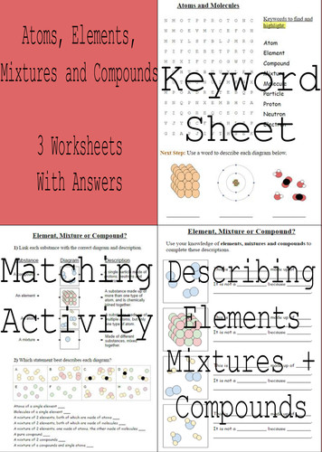 Elements pounds and Mixtures 3 Worksheets Answers by Sci Guy Teaching Resources Tes