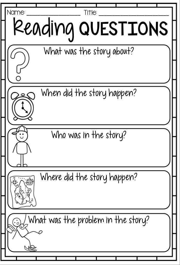 Reading Response Worksheet Reading Questions Printables for story elements reading strategies prehension