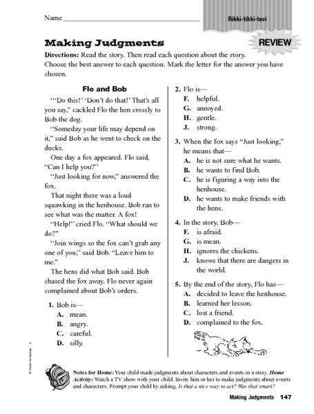 Story Elements Making Judgments 4th 5th Grade Worksheet