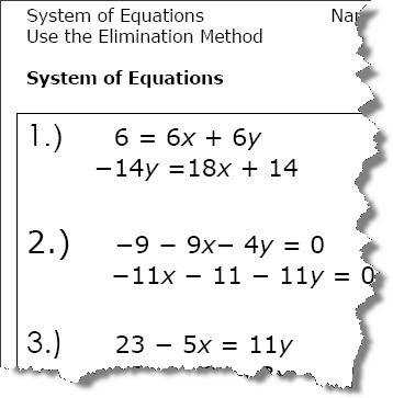 Elimination Method Algebra Worksheets