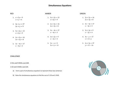 Simultaneous Equations by Elimination worksheets by jennasanderson Teaching Resources Tes