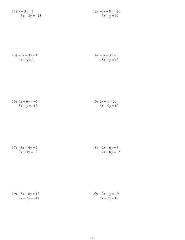 WS 10 8 3 Solving Systems of Linear Equations by Substitution