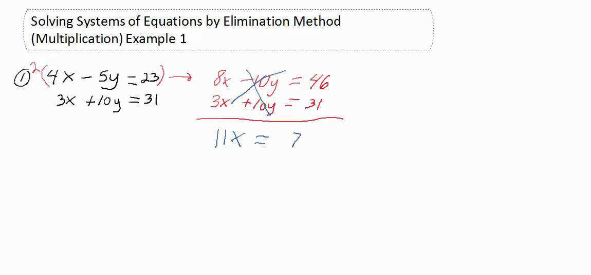 Solving Systems of Equations by Elimination Method Multiplication Example 1