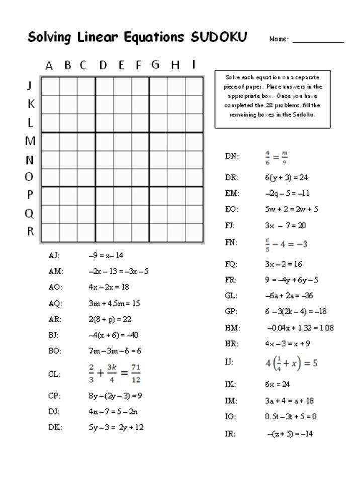 Linear equations sudoku