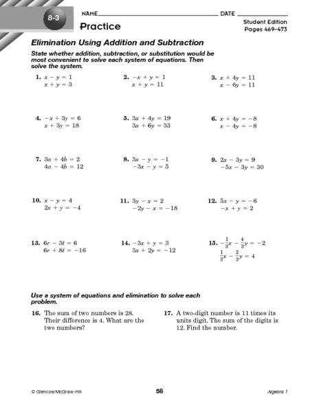 System of Equations Elimination Method Using Addition and Subtraction 8th 11th Grade Worksheet