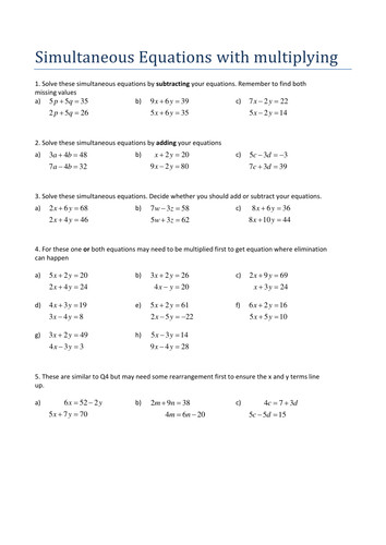 Simultaneous Equations with multiplying Worksheet by Tristanjones Teaching Resources Tes