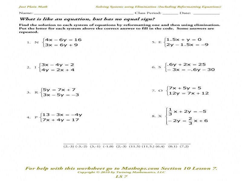 Systems Equationselimination Worksheet Worksheets