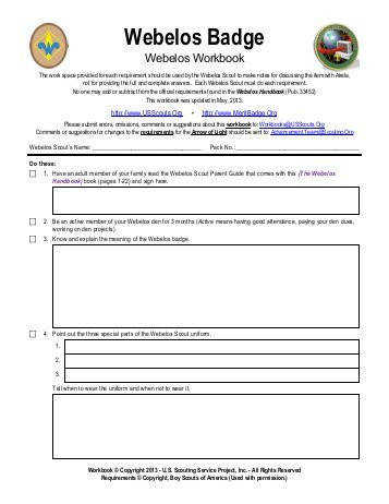 Webelos Badge Worksheet Merit Badge Research Center