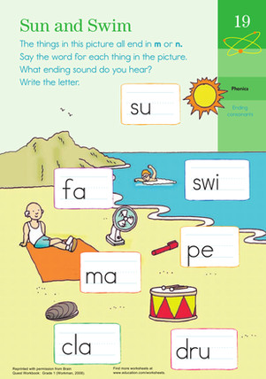 """This worksheet will help your kid with words that end with """"m"""" and """"n"""" sounds To plete this ending sounds worksheet your kid will need to say the names"""