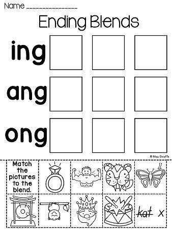 ng ending sound worksheets to practice ending blends word families for NG so much