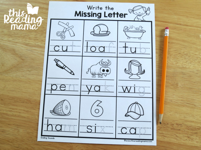 write the ending sound worksheets level 1