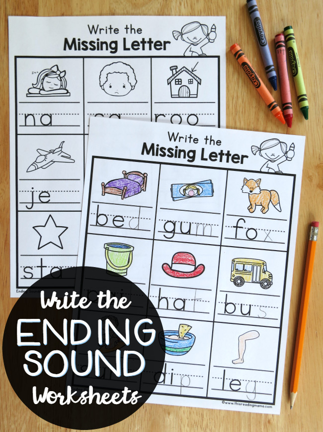 Write the Ending Sounds Worksheets FREE This Reading Mama