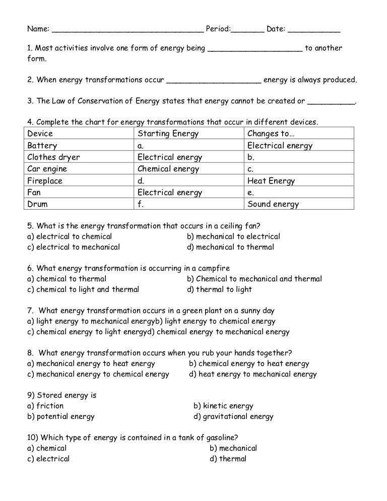 Energy transformation ditto