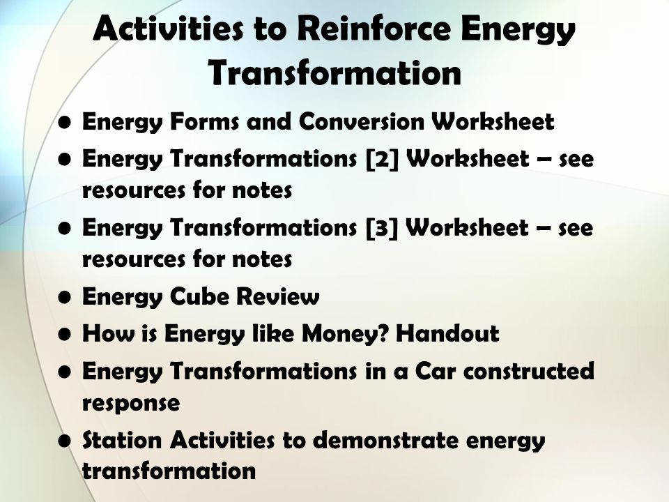 Activities to Reinforce Energy Transformation