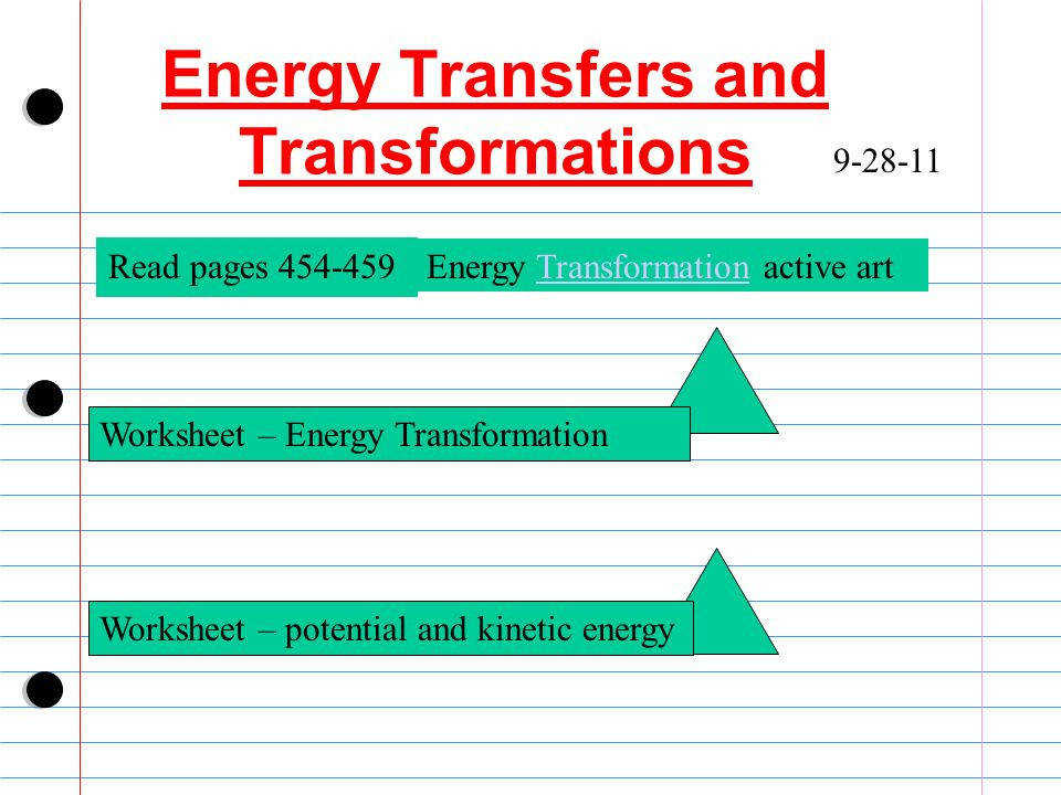 5 Energy Transfers and Transformations 9 28 11 Worksheet – Energy Transformation Read pages 454 459 Energy Transformation active artTransformation Worksheet