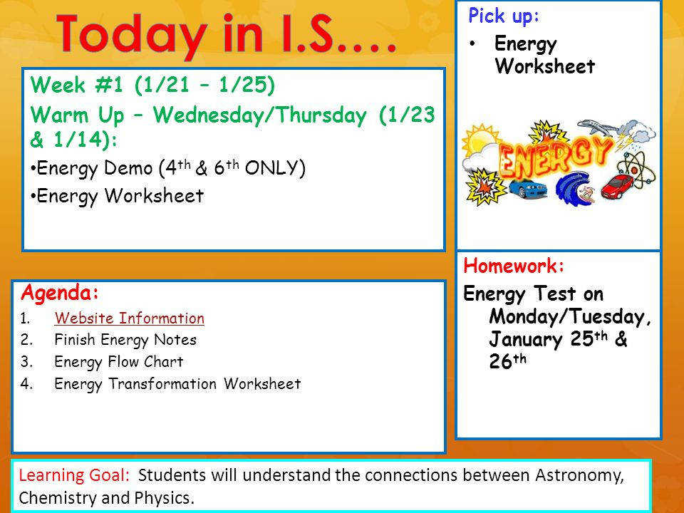 Pick up Energy Worksheet Agenda 1 Website InformationWebsite Information 2 Finish Energy