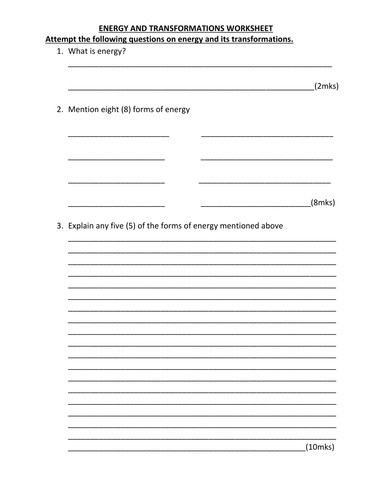 ENERGY WORKSHEET WITH ANSWERS by kunletosin246 Teaching Resources Tes