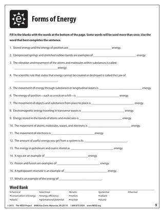 The Need Project Forms Energy Worksheet the need project forms of energy…