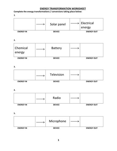 ENERGY TRANSFORMATION WORKSHEET WITH ANSWER by kunletosin246 Teaching Resources Tes