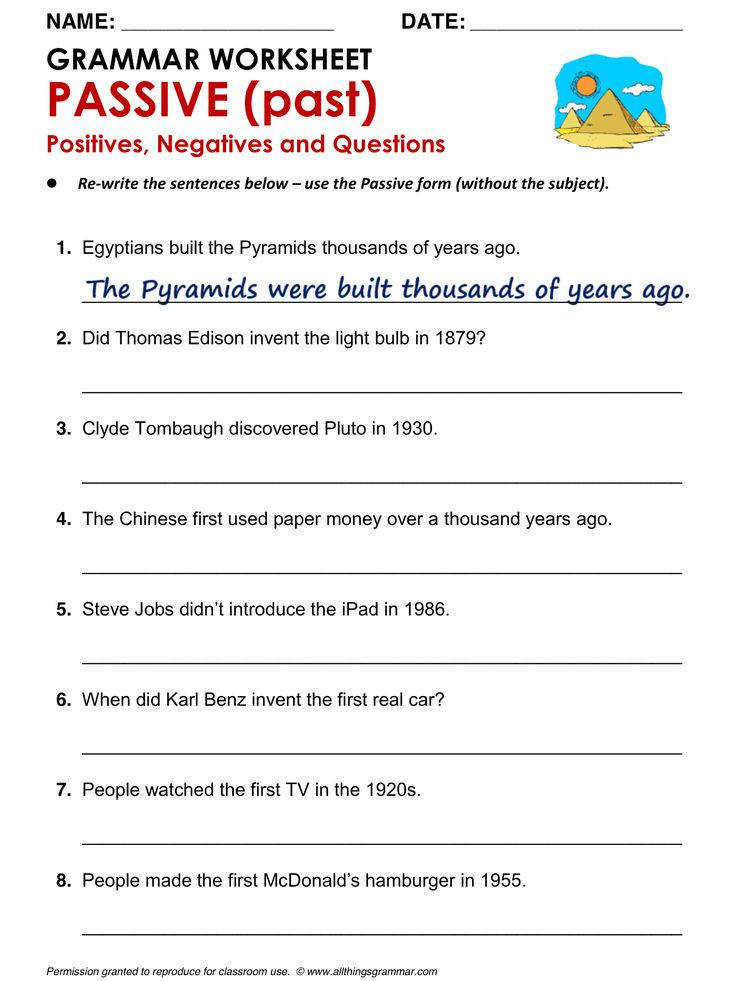 English Grammar Worksheet PASSIVE past Positives Negatives and Questions Active