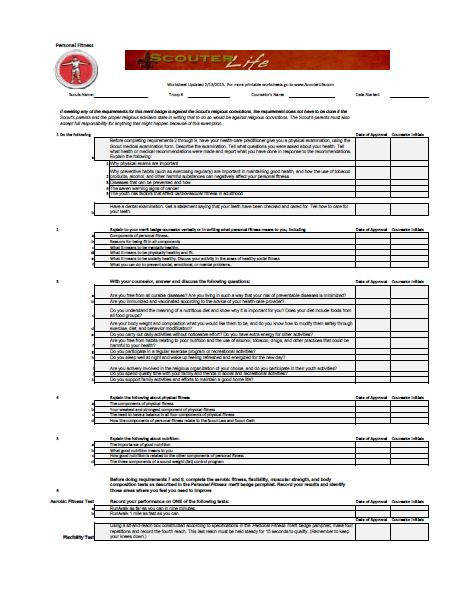 Personal Fitness Merit Badge · Personal Fitness Merit Badge · Environmental Science Merit Badge Worksheet