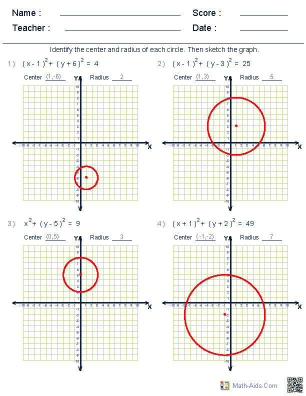 Graphing Equation of Circle Worksheets