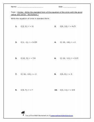 Standard Form of the Equation of the Circle Worksheet Five Pack