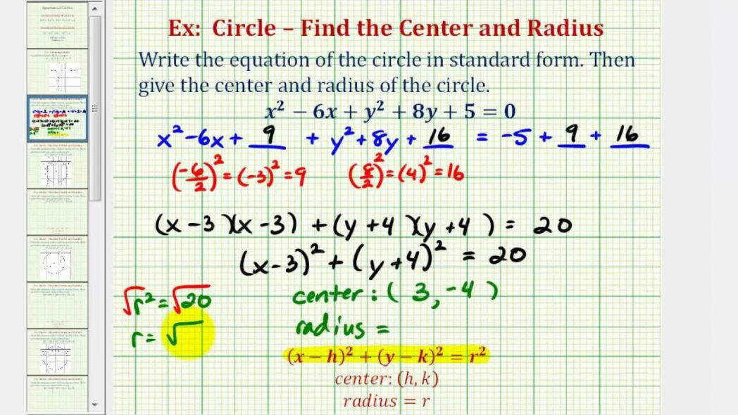 Ex 1 Write General Equation A Circle In Standard Form Youtube Writing Equations Practice Worksheet