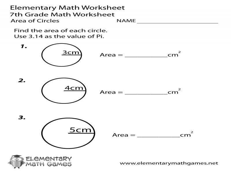 Seventh Grade Area Circles Worksheet